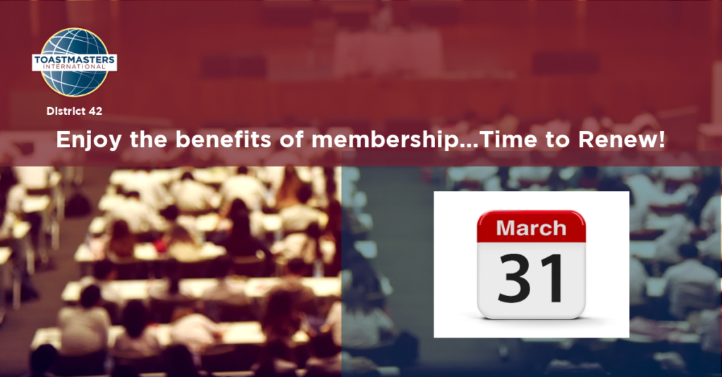 Renewals Club Dues Deadline:  March 31 | 21