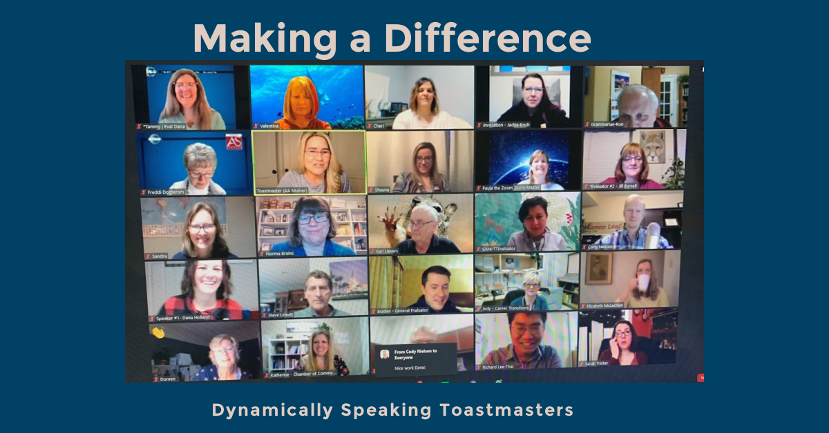 A photo of a Zoom meeting with Dynamically Speaking Toastmasters